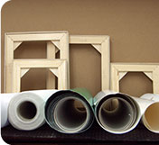 Canvas rolls with wooden frames
